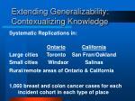 extending generalizability contexualizing knowledge