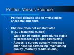 politics versus science