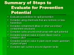 summary of steps to evaluate for prevention potential