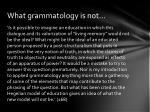 what grammatology is not