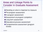 areas and linkage points to consider in graduate assessment