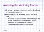assessing the mentoring process