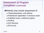 assessment at program completion continued