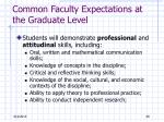 common faculty expectations at the graduate level