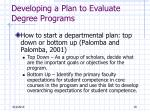 developing a plan to evaluate degree programs