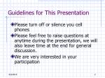 guidelines for this presentation