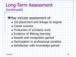 long term assessment continued1