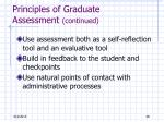 principles of graduate assessment continued