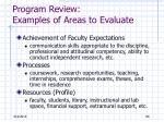 program review examples of areas to evaluate