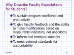why describe faculty expectations for students