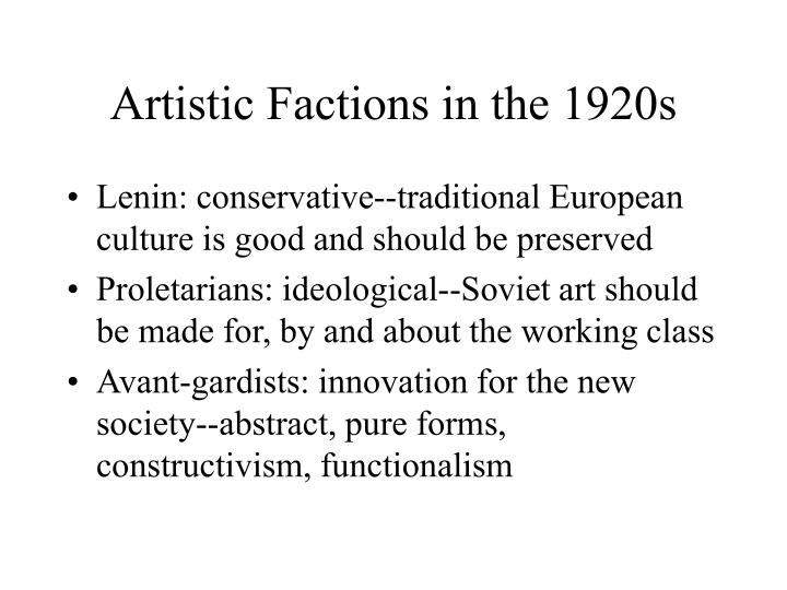 artistic factions in the 1920s n.