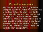 pre reading information