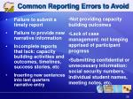 common reporting errors to avoid
