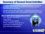 summary of general grant activities