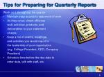 tips for preparing for quarterly reports