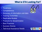 what is eta looking for