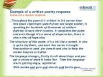 example of a written poetry response extract of a student response