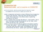 foundation tier romeo and juliet part a question on character