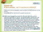 higher tier of mice and men part b question on language