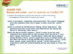 higher tier romeo and juliet part a question on character