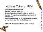 actions taken at bch