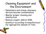 cleaning equipment and the environment
