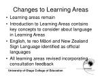 changes to learning areas