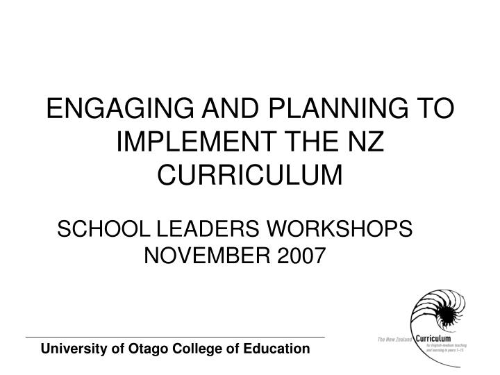 engaging and planning to implement the nz curriculum n.