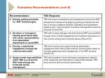 evaluation recommendations cont d