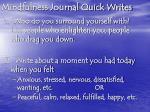 mindfulness journal quick writes