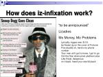 how does iz infixation work