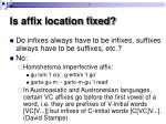 is affix location fixed