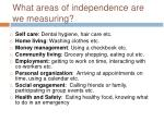 what areas of independence are we measuring