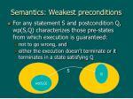 semantics weakest preconditions