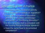 determining scope of practice