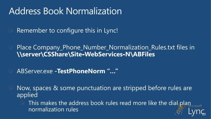 Address Book Normalization