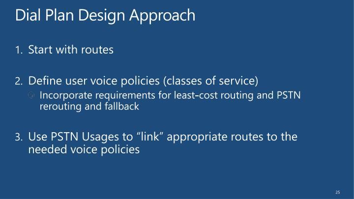 Dial Plan Design Approach