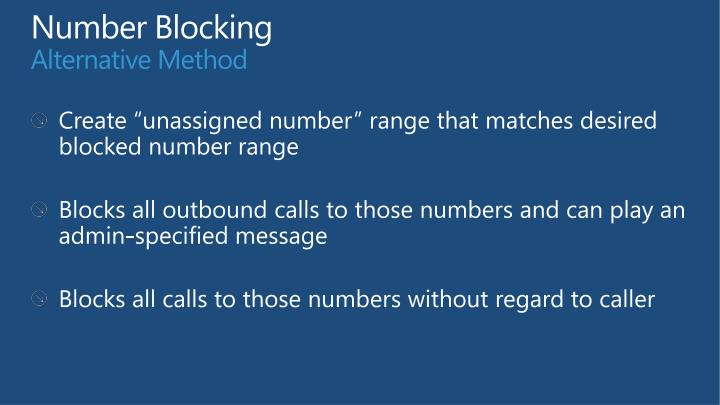 Number Blocking