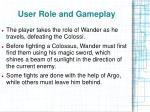 user role and gameplay