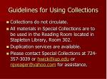 guidelines for using collections