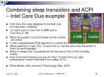 combining sleep transistors and acpi intel core duo example
