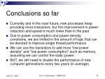 conclusions so far
