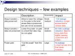 design techniques few examples