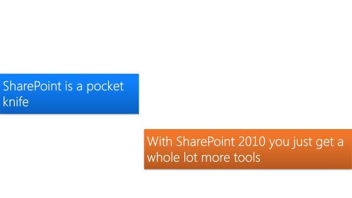 SharePoint is a pocket knife