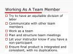 working as a team member