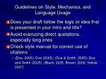 guidelines on style mechanics and language usage