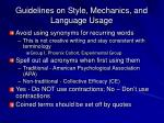 guidelines on style mechanics and language usage1