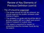 review of key elements of previous definition cont d2