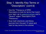 step 1 identify key terms or descriptors cont d