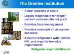 the grantee institution